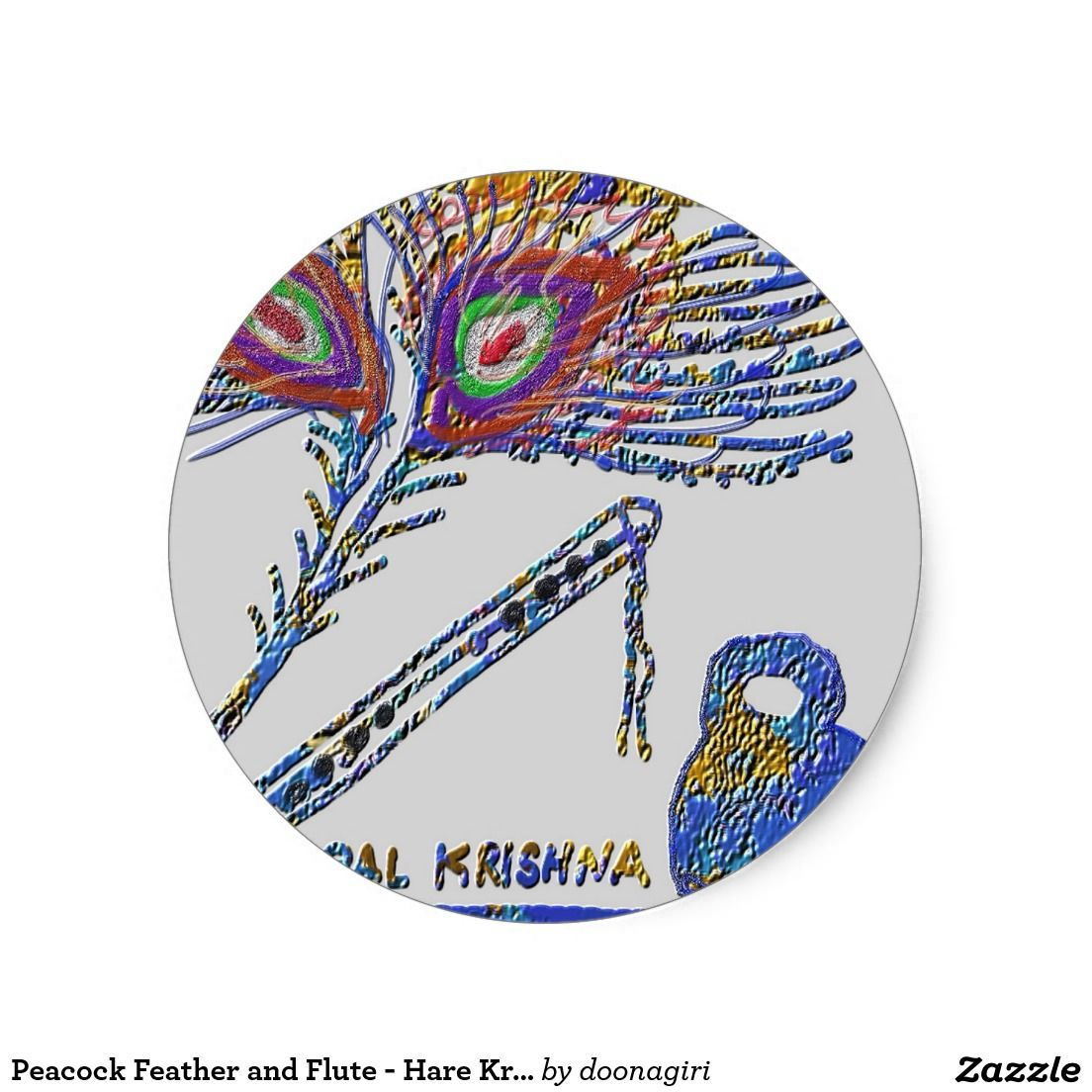 Peacock Feather and Flute - Hare Krishna Classic Round Sticker