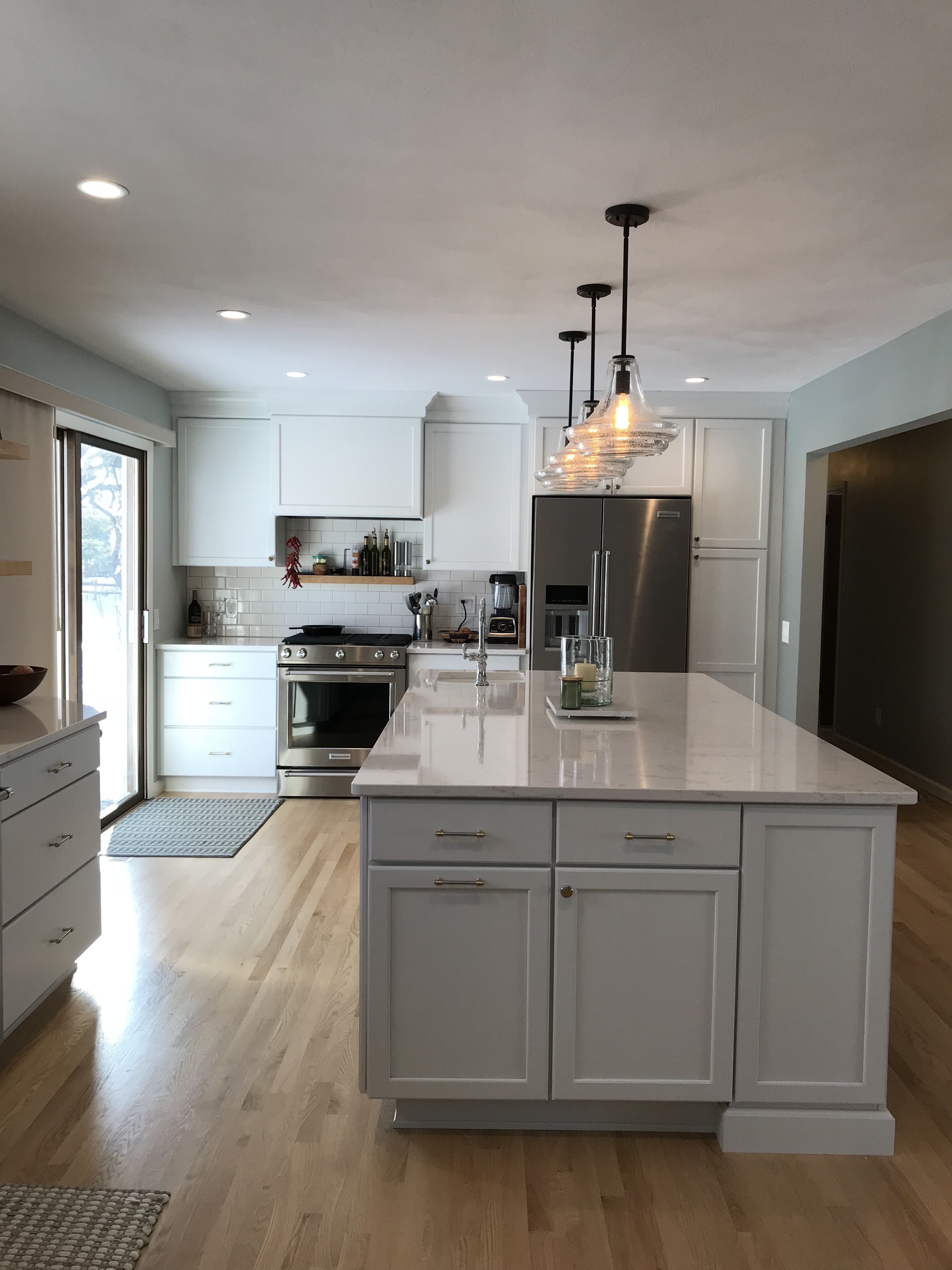a beautiful open floor plan featuring kraftmaid cabinets and cambria quartz the cabinets are g on kitchen remodel floor id=57115