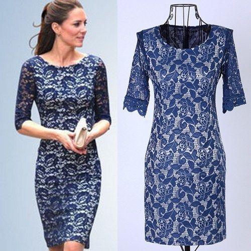 royal duchess style feminine royal blue lace sheath dress
