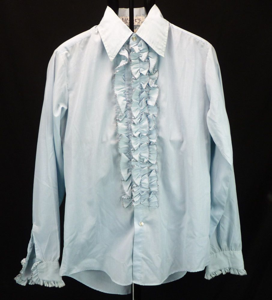 Vintage 70s Ruffle Front Powder Blue TUXEDO Shirt, Mens Disco Prom ...