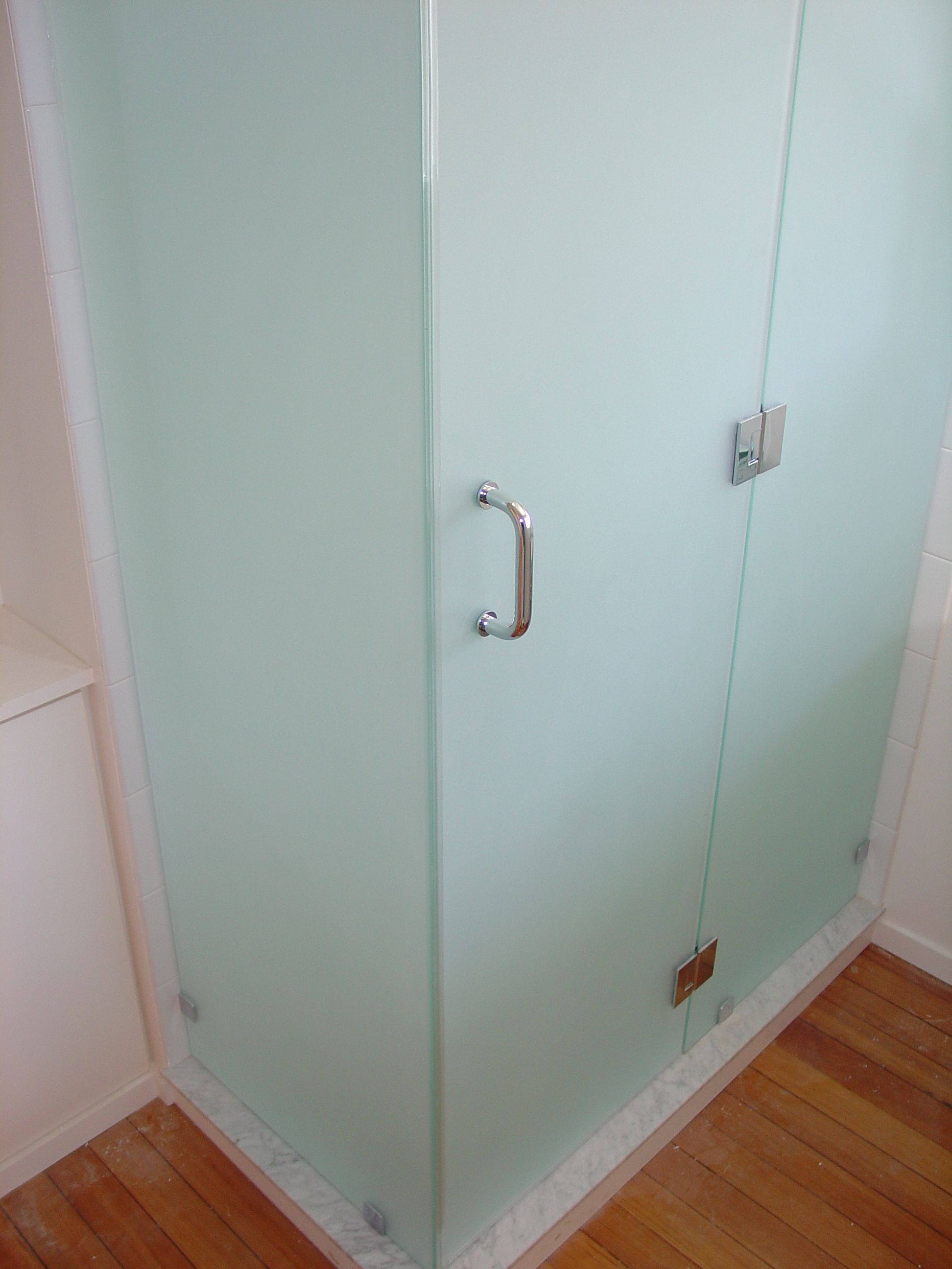 Frosted shower door will let in light, but still provide privacy