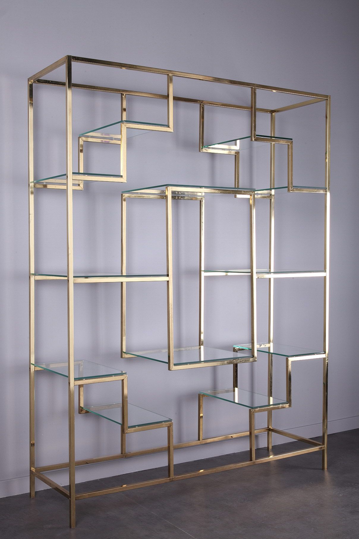 Large Brass Bookcase By Kim Moltzer 1938 2015 From The 70s It