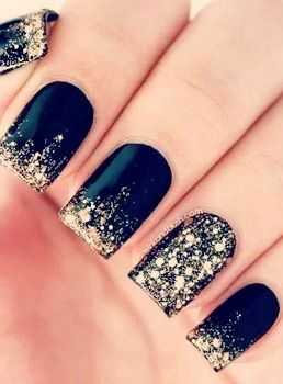 Love These Starry Night Nails Sparkle Nailart Gold Nails Trendy Nails Cute Nails