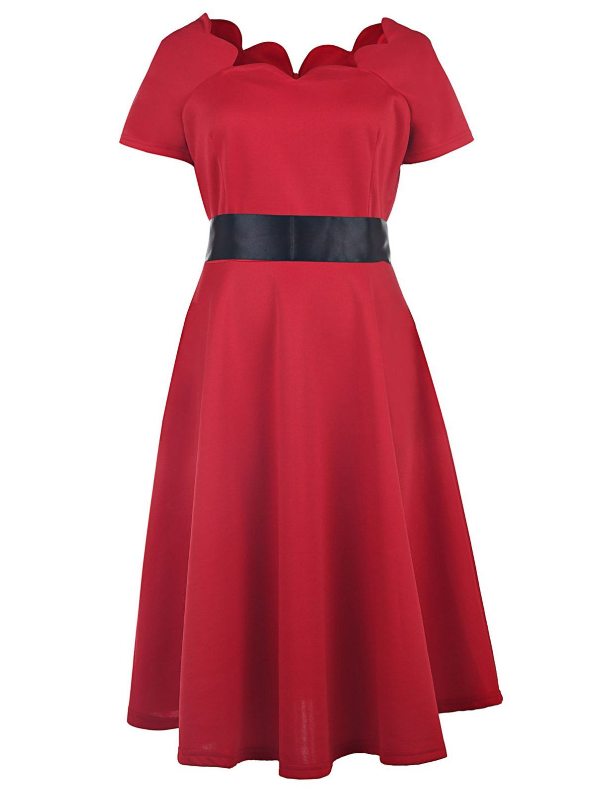 Vintage style scoop neck short sleeve red ball gown dress for women