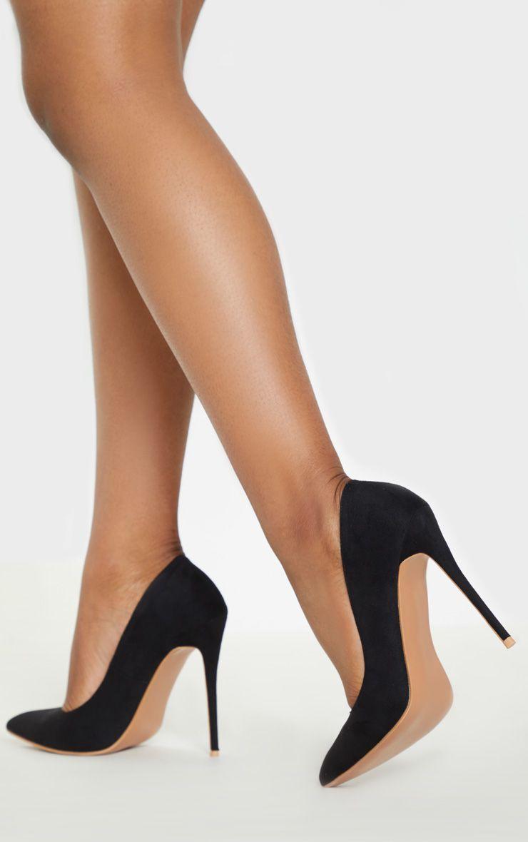 ladies wide fit black court shoes
