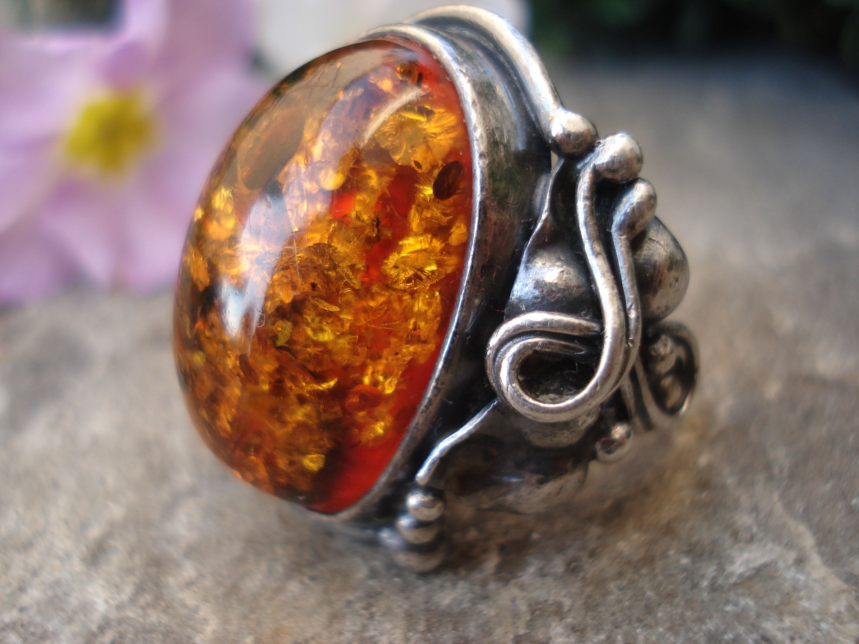 Unique Silver Ring with Vintage Natural Baltic Amber