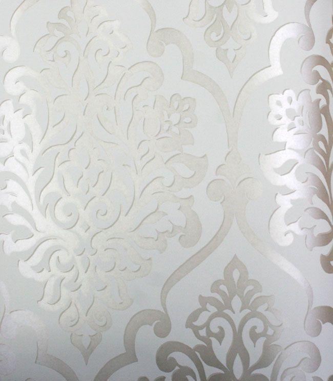 Wall Paper Damask Wallpaper Contemporary Wallpaper Beige Wallpaper