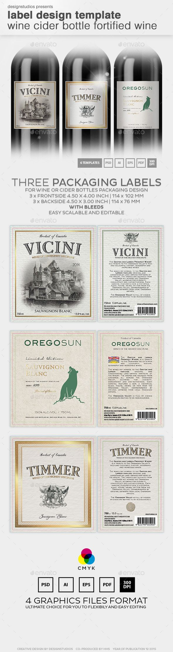 Label Design Template Wine & Cider Bottle | Template, Print ...