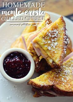 My Newest Addiction lately is this amazing Homemade Monte Cristo Grilled Cheese sandwich! Get you some! Recipe and tons of photos! #ShareYourCheesy #ad