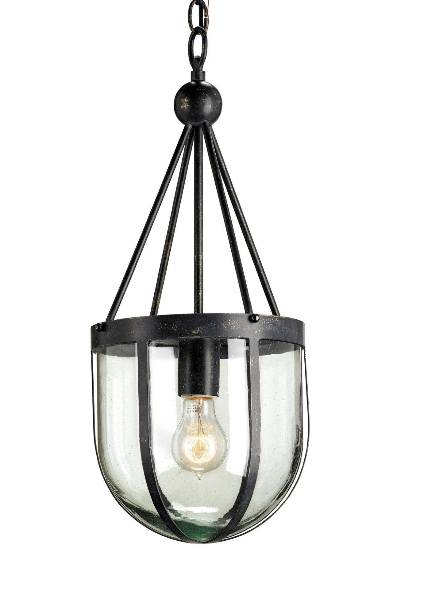 A lightly weathered French Black finish adds a chic industrial feel to the Clifton Pendant's simple wrought iron frame. Its lantern-like styling features glass panes to balance its linear borders. The