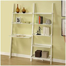 White 5 Tier 2 Piece Leaning Ladder Shelf With Laptop Desk Set