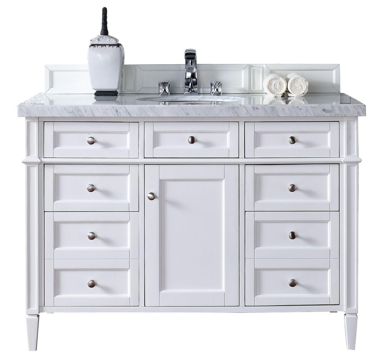 48 Brittany Single Bathroom Vanity White