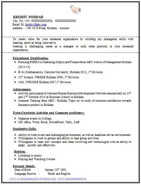 Resume Format For Tally Erp 9 | Resume Format | Pinterest | Resume ...