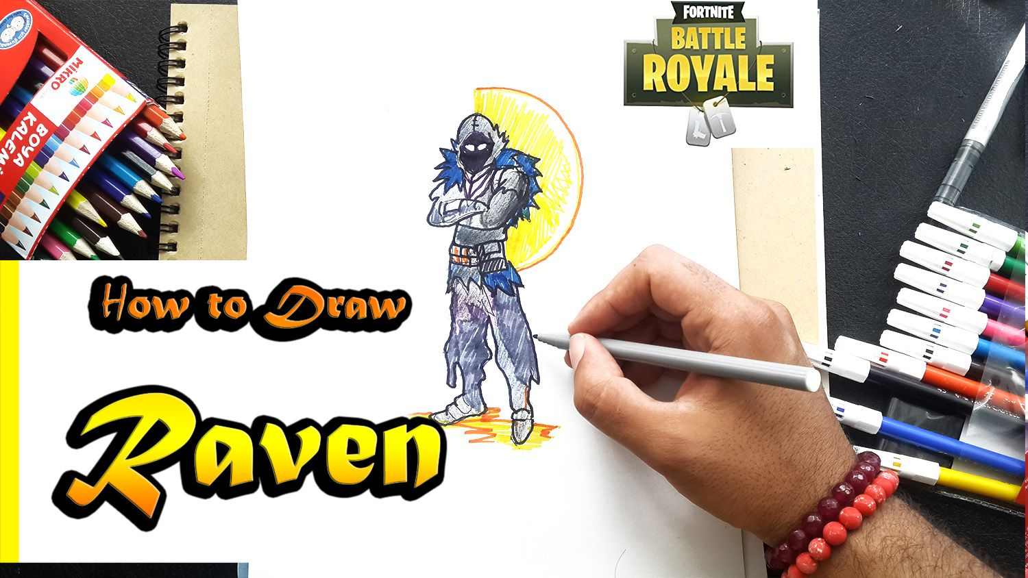 How To Draw Raven From Fortnite Battle Royal Art Tutorial Step By Step Hi Everyone In Today S Art Tutorial I Ll Be Show Royal Art Art Tutorials Drawings