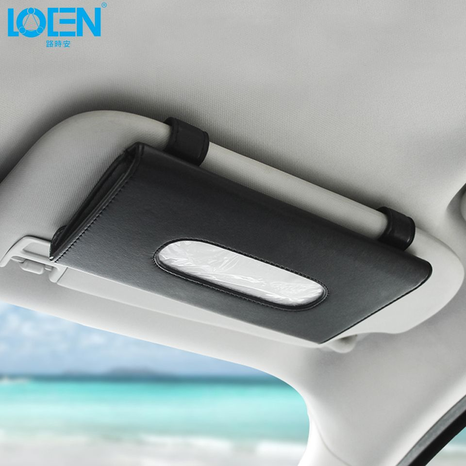 Car mirror hanging toys  Luxury PU Leather Car Tissue Box Mounted on Sun Visor Back Beige