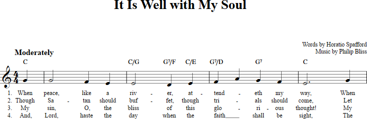 It Is Well With My Soul sheet music with chords and lyrics for C ...