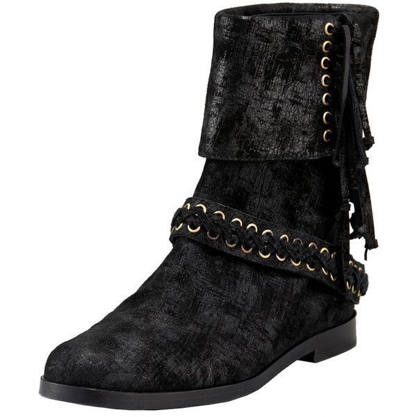 Balmain Laced Suede Fold-Over Bootie (57.965 RUB) ❤ liked on Polyvore featuring shoes, boots, ankle booties, balmain, lace up ankle boots, suede boots, suede booties, suede flats and ankle boots