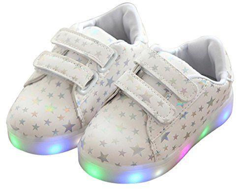 9fa7007f9807 Otamise Girls PU LED Shoes Light up Flat Sneaker(Toddler ... https