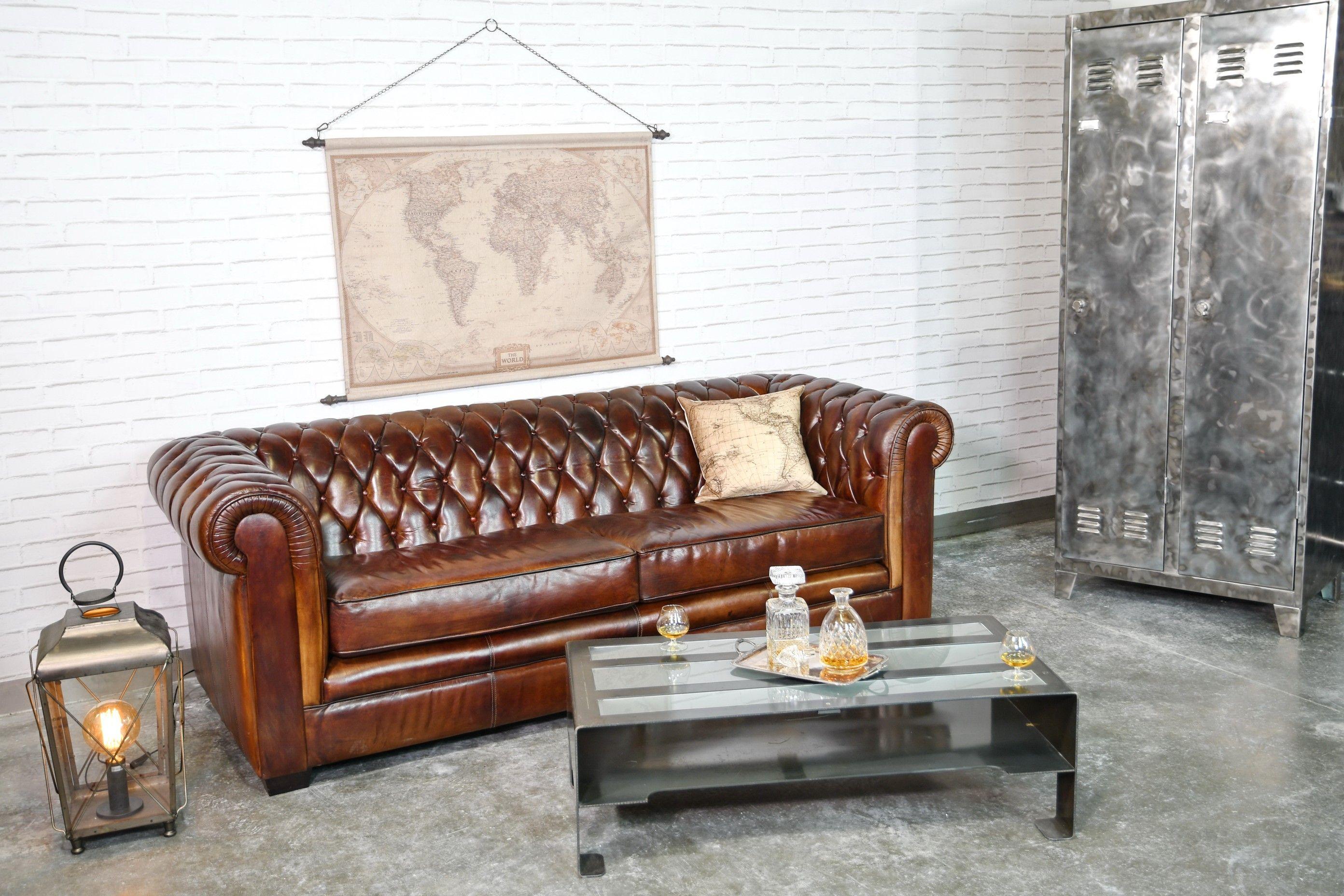 Canape Cervus Cuir Couleur Cognac Avec Structure En Acier Style Industriel Design Factory En Vente Sur Cervus Fr Canape Mobilier De Salon Canape Cuir