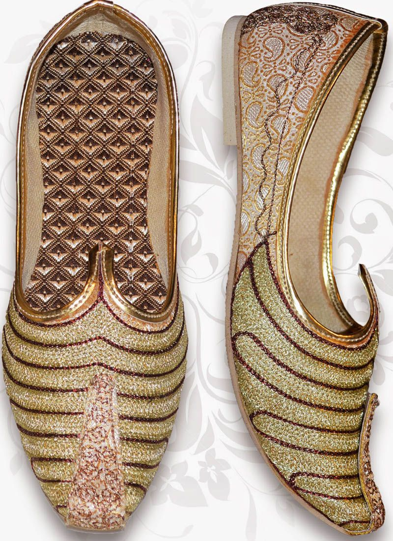 ad5583a2 Stylish Beige Brocade Men's Jutti Ethnic Looks, Online Shopping Shoes, Shoes  Online, Man