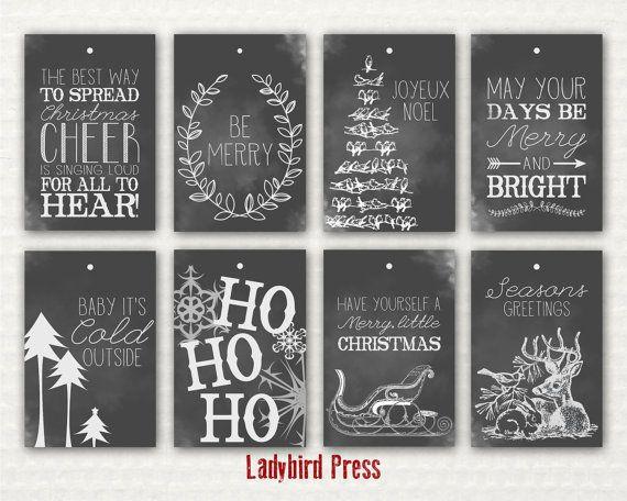 Rustic Chalkboard Christmas Gift Label