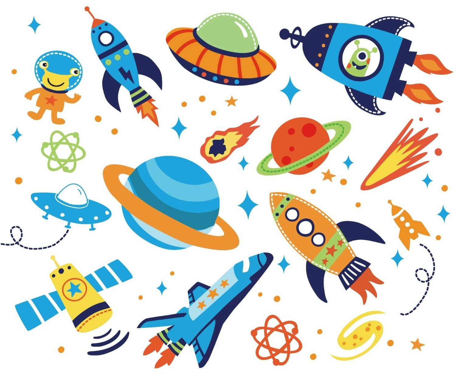 Outer Space Kids Room Peel Stick Wall Decals Kids