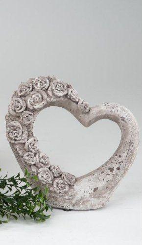 Formano deko herz aus keramik 20 cm hoch romantische for Romantische gartendeko