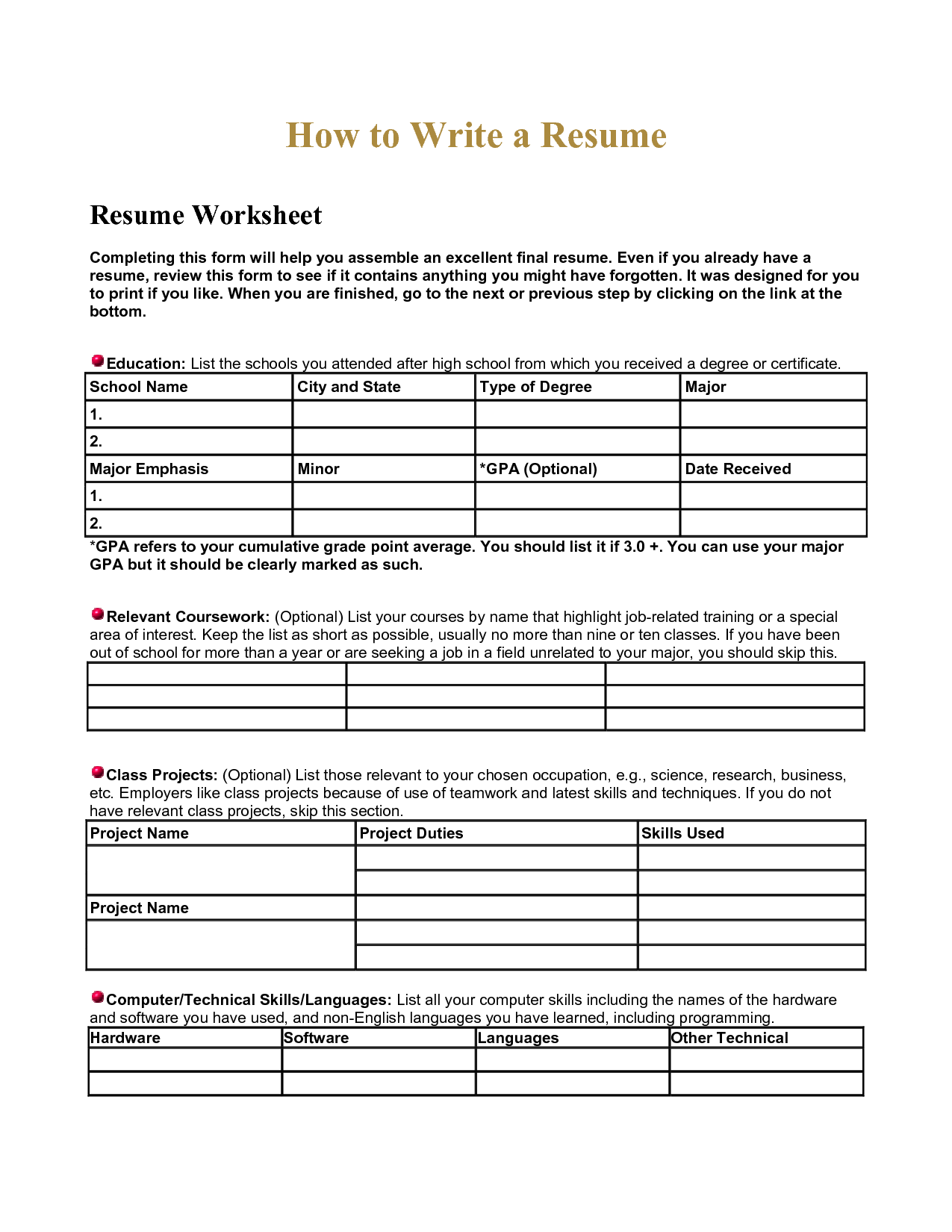 Resume Worksheet Using Your Academic Experiences High School