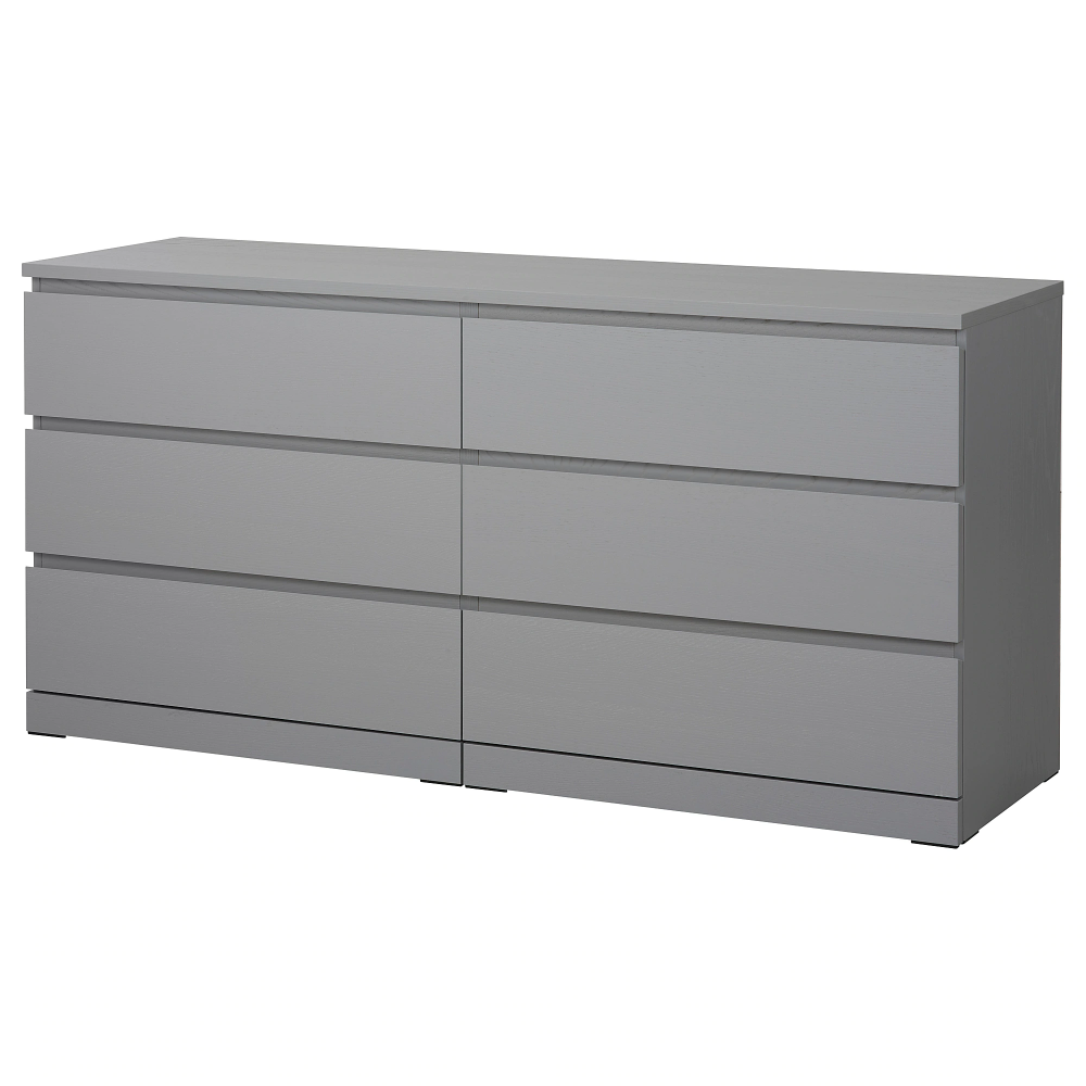 "MALM 6drawer dresser gray stained 63x30 3/4 "" Dresser"