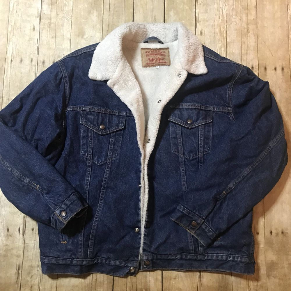 Vintage Men S Levi S Sherpa Lined Denim Jacket 70s 80s Snap Buttons
