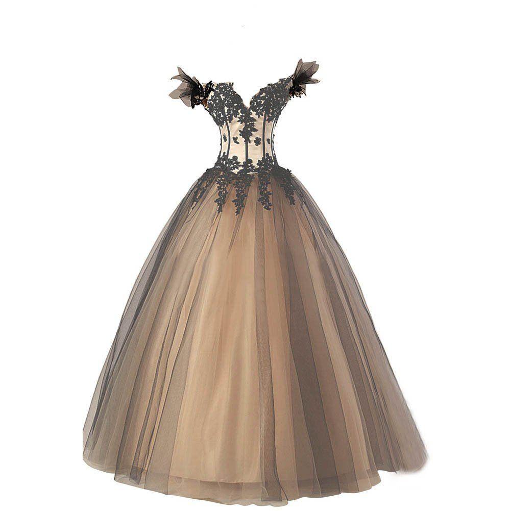 Kivary womenus black and champagne long off shoulder v neck corset