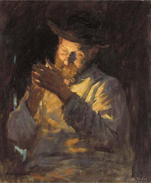 Lighting Up, Stanhope Alexander Forbes. Irish Realist Painter (1857 - 1947)
