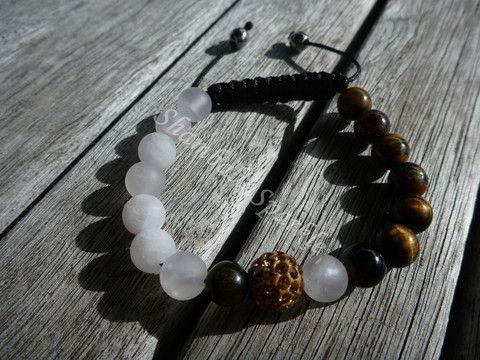 Yin Yang Golden Tigers Eye and Matte Rose Quartz Shamballa Bracelet