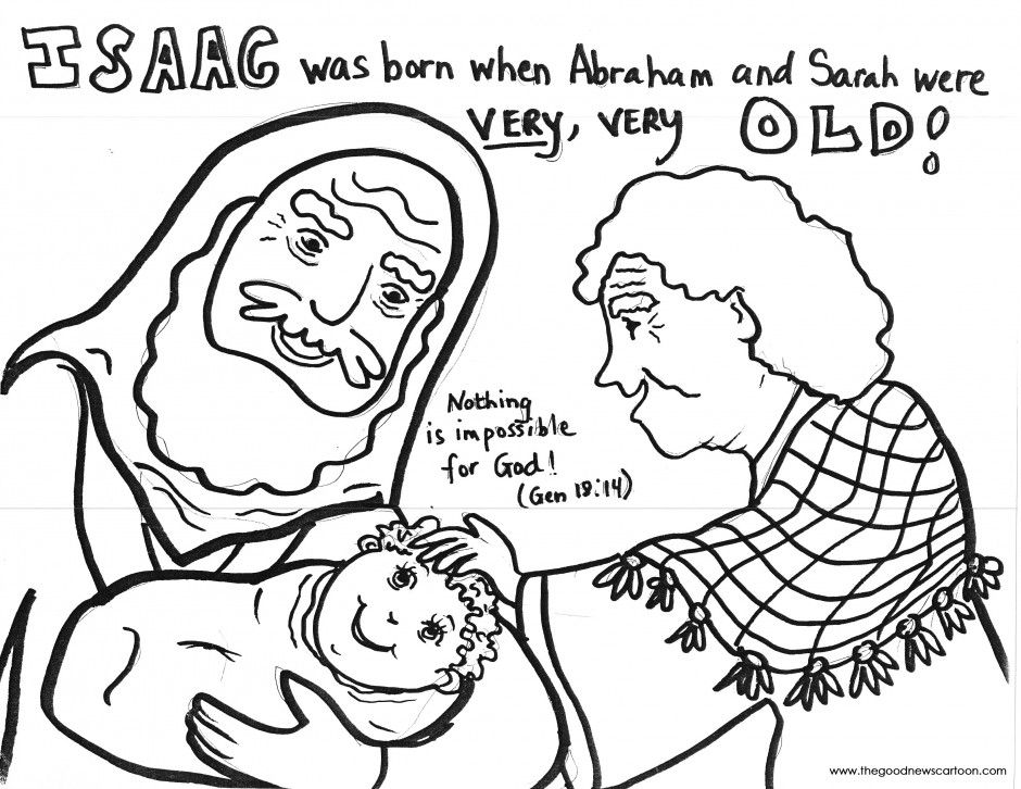 Abraham and Sarah have Baby Isaac Coloring Page Christian crafts