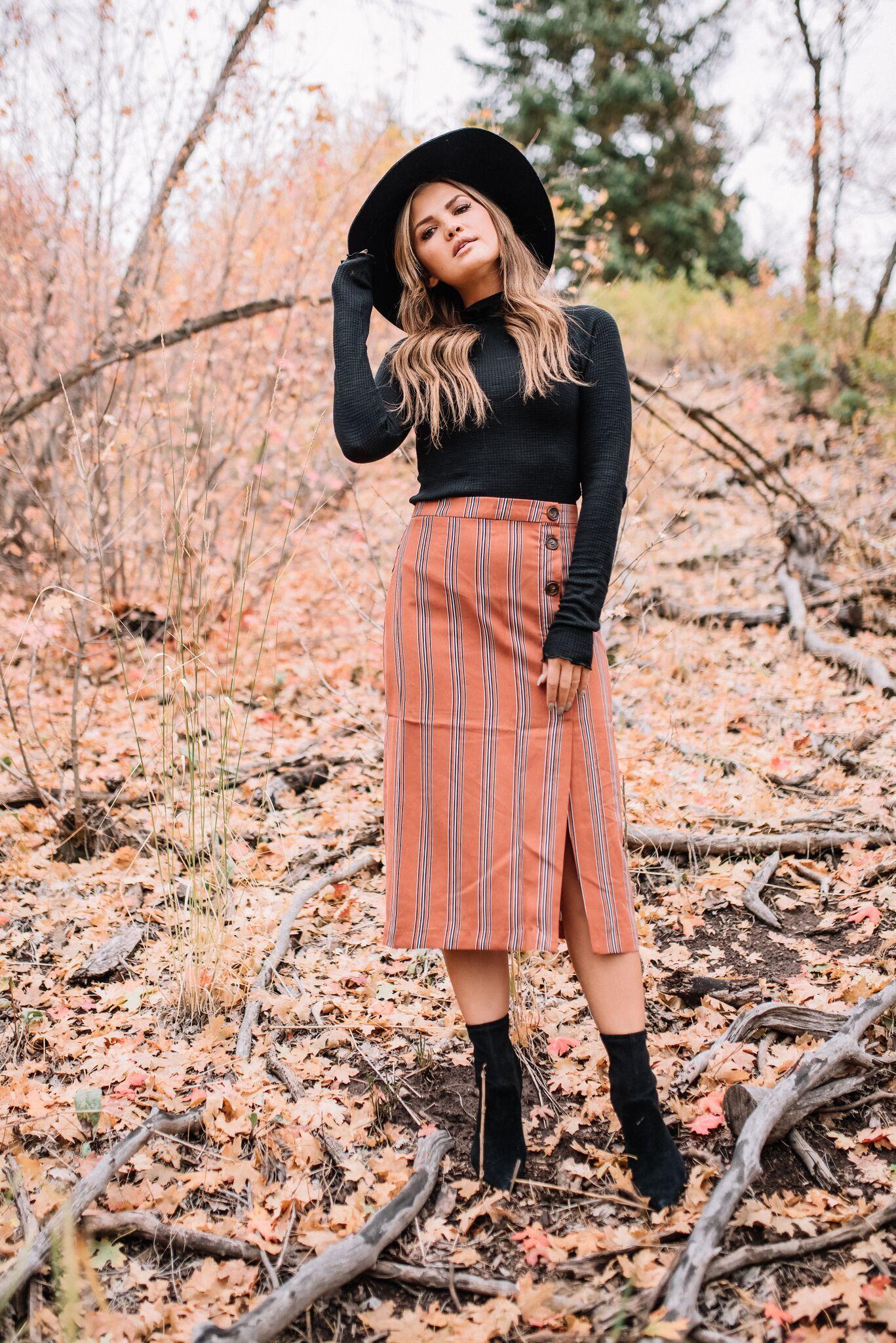 0bc09c7d14 Lulu's Free People black turtleneck and rust striped midi skirt | My ...