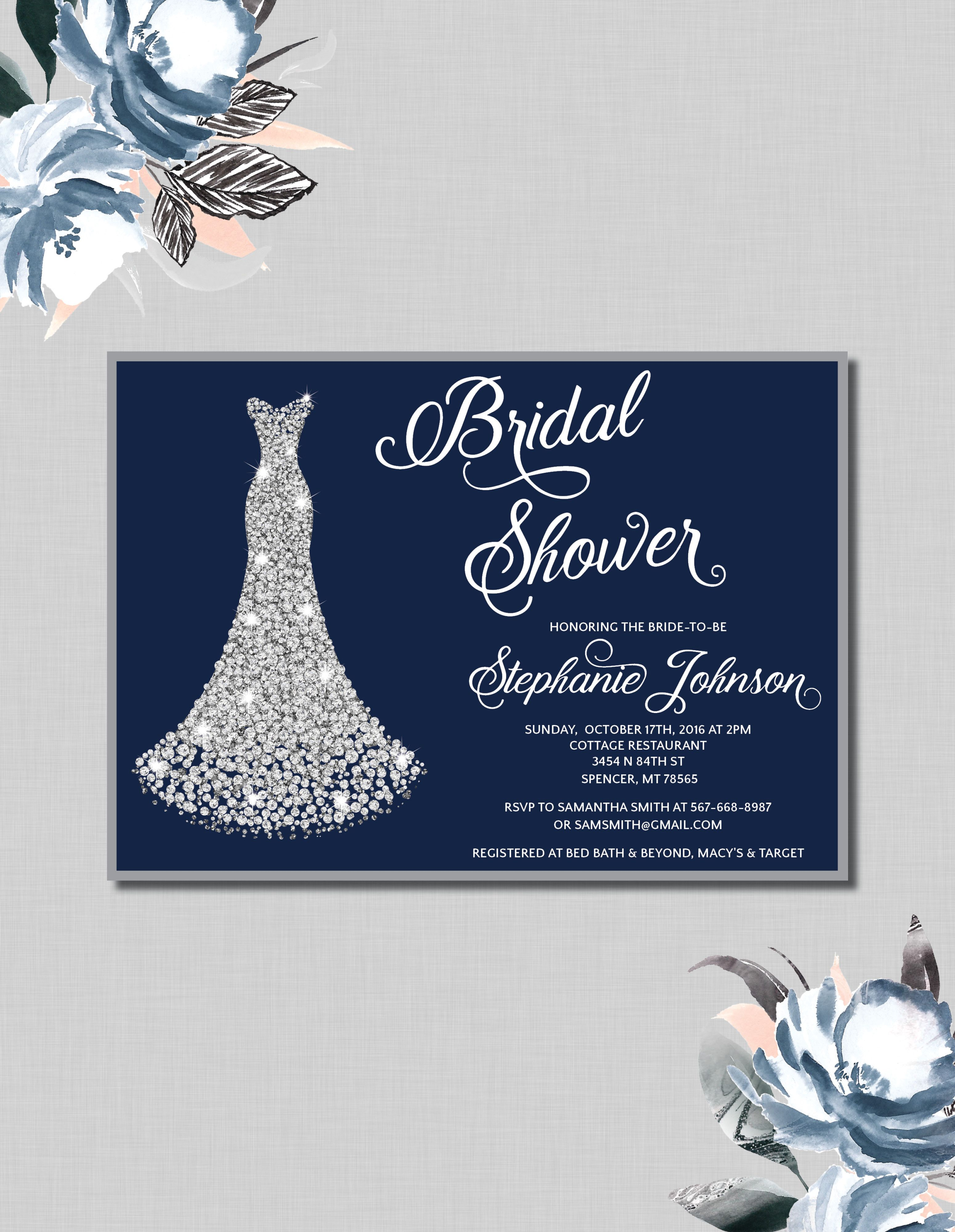 Navy And Silver Bridal Shower Invitation With A Diamond Wedding Gown Choose To Print On Your Own Or Have Them Printed For You Soo Pretty