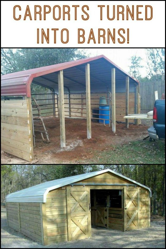 Turn a Carport Into a Barn Diy carport, Barns sheds, Shed