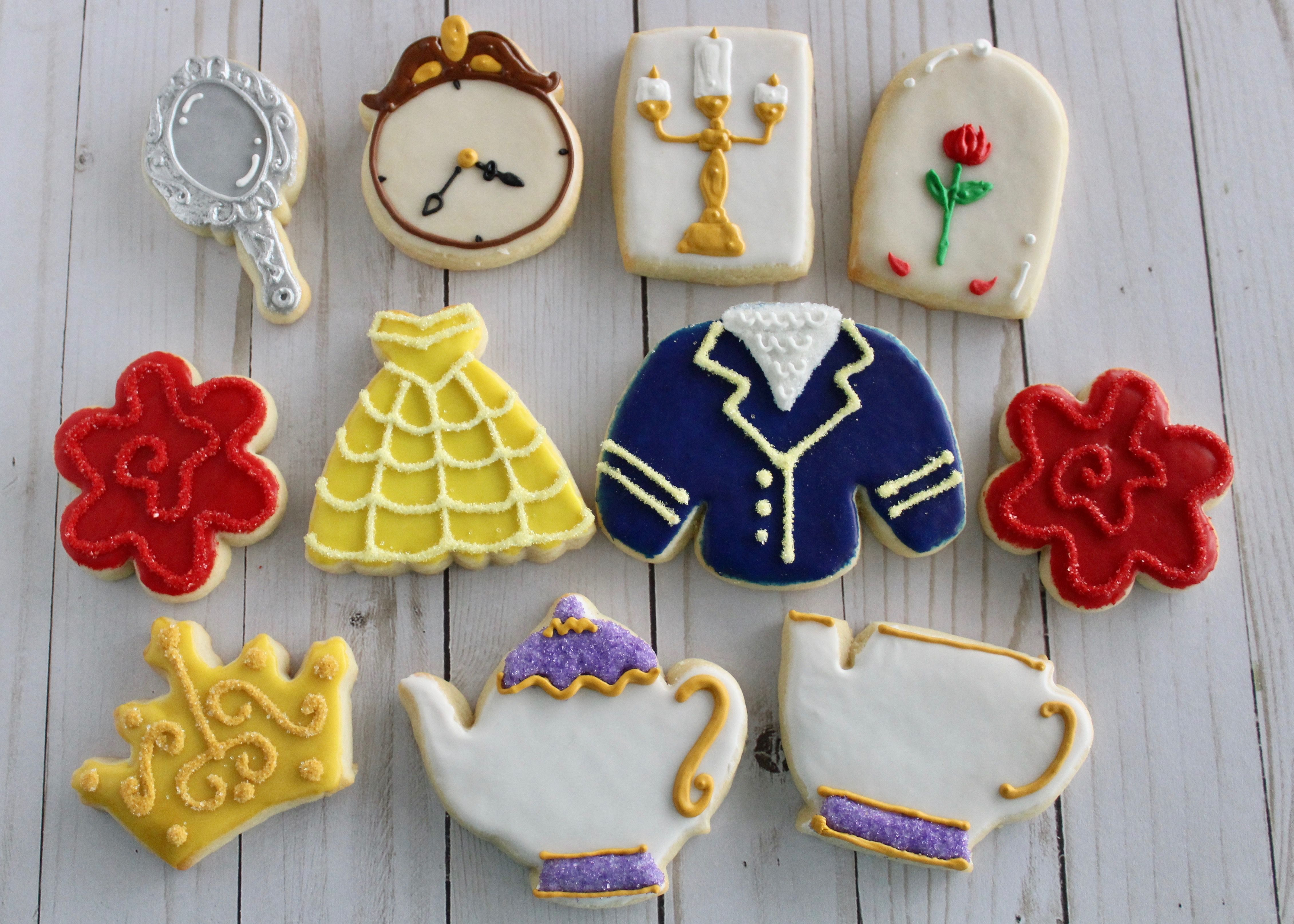 1 Dozen Beauty And The Beast Decorated Sugar Cookies Made To Order