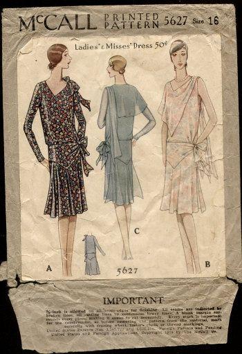 McCall 5627 20s Sewing Pattern Dress | 1920s Patterns | Pinterest ...