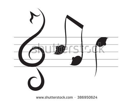"Treble Bass Clef Heart Music Black White 1/"" Scrapbooking Crafting Stickers"