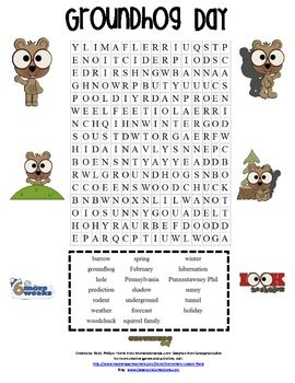 graphic about Groundhog Day Word Search Printable called Groundhog Working day Phrase Glimpse Sport Groundhog Working day