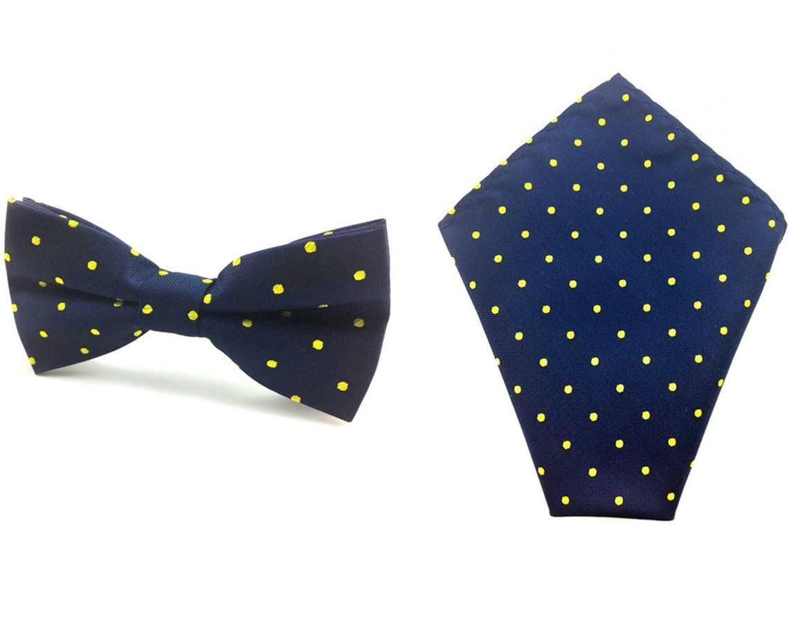 Men/'s Yellow with White Polka Dot Bowtie /& Pocket Square Wedding Ties Hanky Set