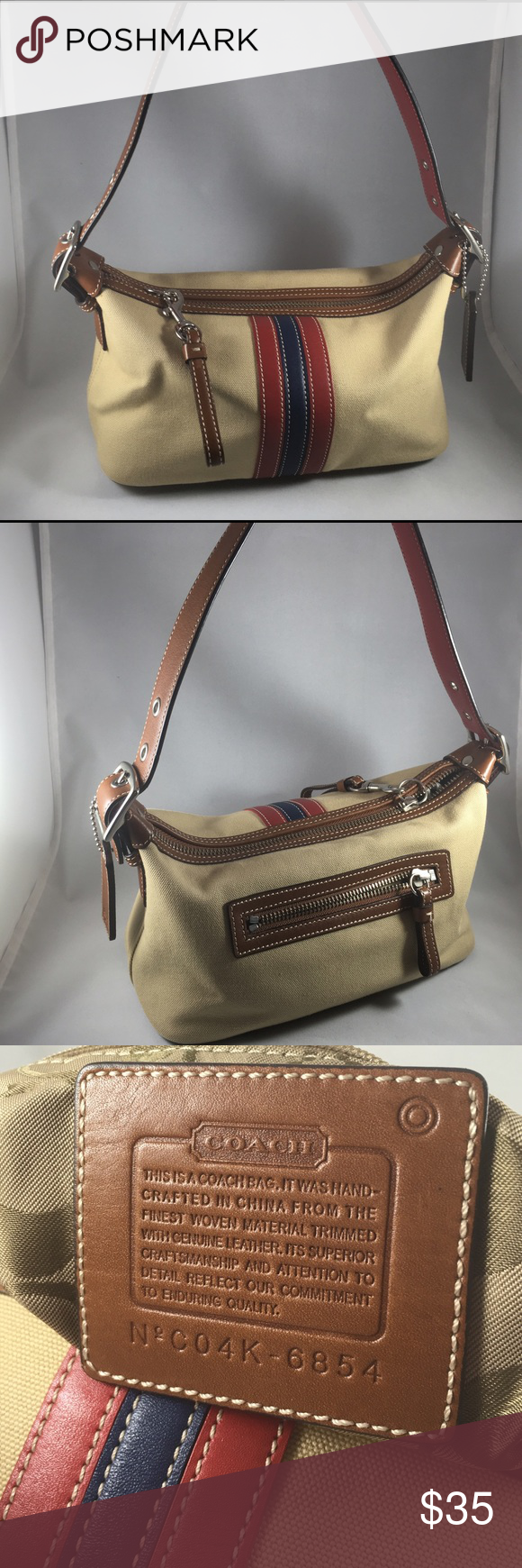 """Authentic 💯% Rare Coach Handbag✨in Light Taupe Authentic 💯% Coach Handbag✨in Light Taupe With red & blue stripes on the side.Back pocket. I love this small size bag. 😌Selling it because I believe some else can who can use it and take care of it as I did. 💯❗😌💖️Pre Loved !🌺     Measurements H 5"""" x L 9""""x W 4 1/2"""" Coach Bags Mini Bags"""