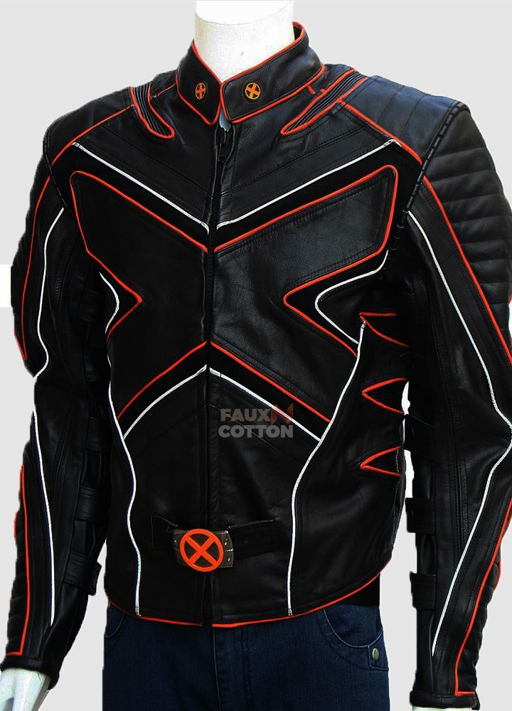 Xmen black wolverine biker costume leather jacket