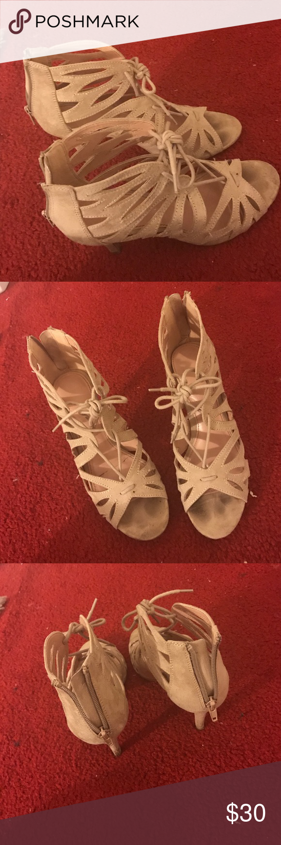 """Christian Siriano Beige Nude Lace-Up Sandals So cute for spring. Christian Siriano for Payless brand. Great condition. Lace up to tie in the front.  Heel heigh approx 3.5/4"""". Bundle & Save 💋💕 Christian Siriano Shoes Sandals"""