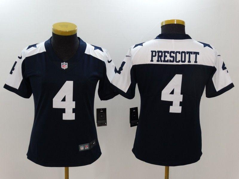 c6c9c7e24 Nike Cowboys 4 Dak Prescott Blue Throwback Women Vapor Untouchable Player  Limited Jersey Dallas Cowboys Jersey