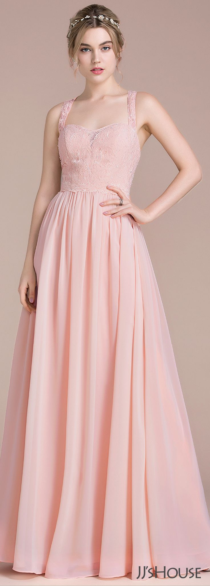A-Line/Princess Floor-Length Chiffon Lace Bridesmaid Dress With ...
