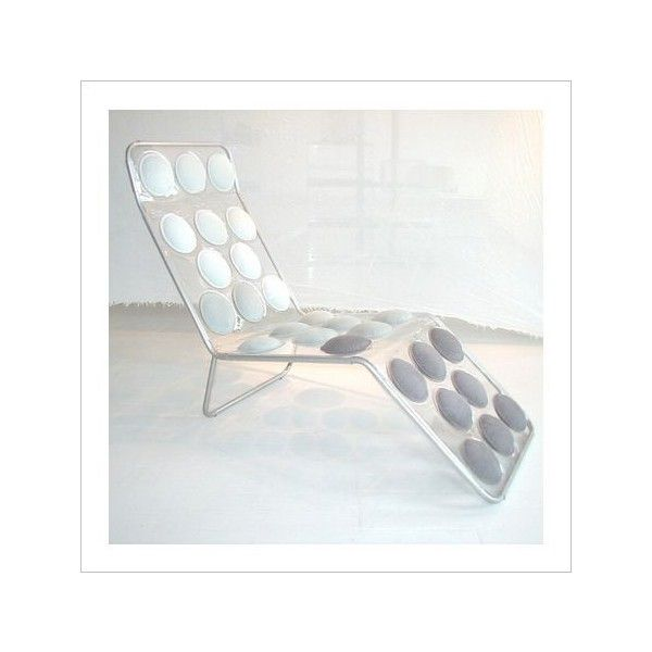 Michael Randazzo Button Chaise Lounge Chair Circles White