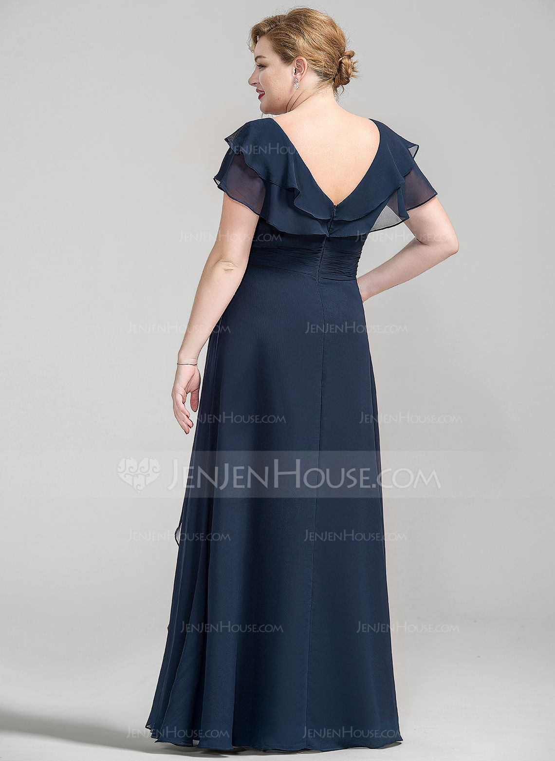 6b6b34a717c A-Line Princess V-neck Floor-Length Chiffon Mother of the Bride Dress With  Crystal Brooch Cascading Ruffles (008077027) - JenJenHouse