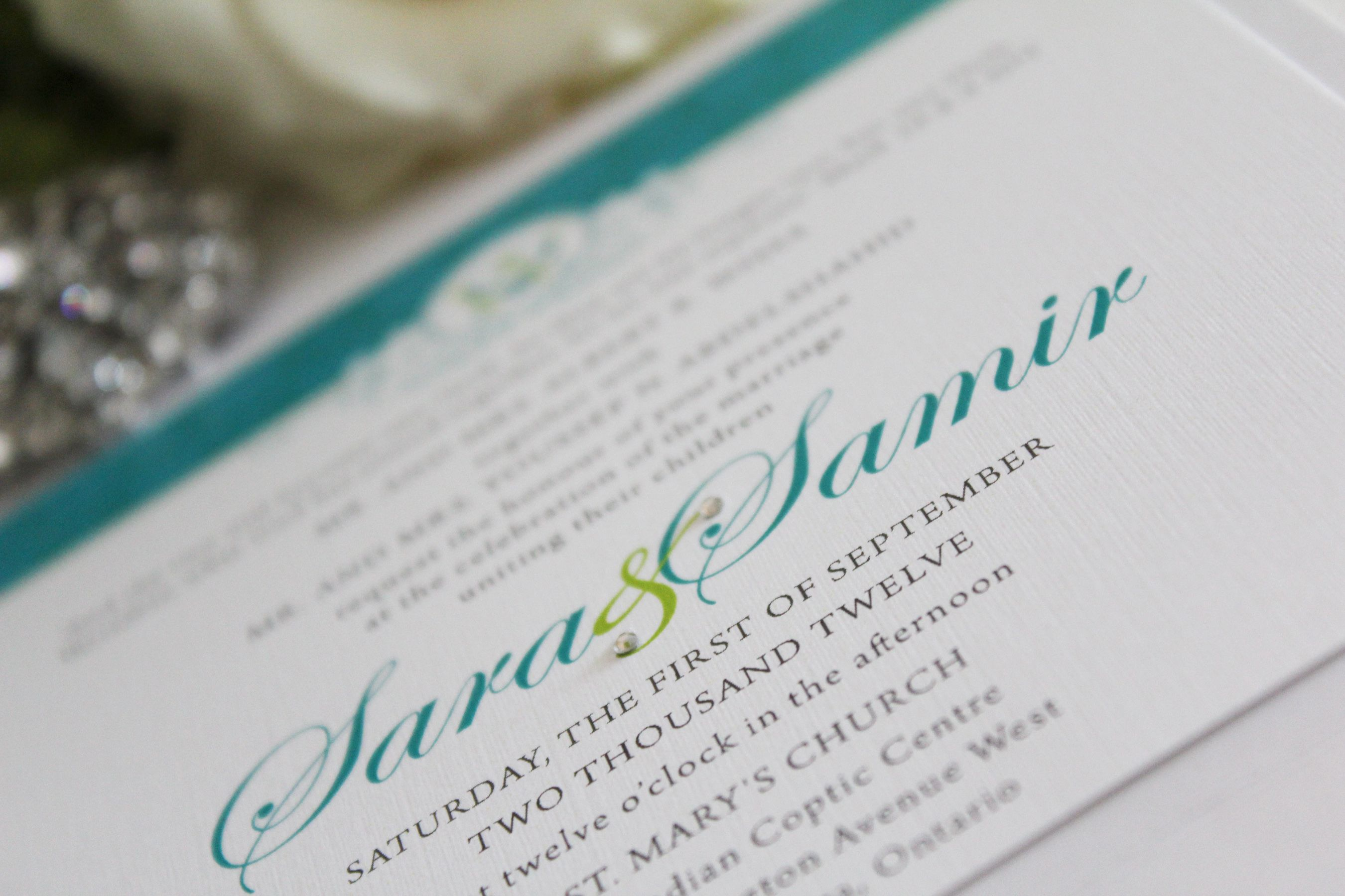 Bright Teal and Lime Wedding Invitation | Wedding | Pinterest ...